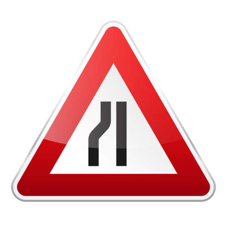 Road red sign on white background. Road traffic control.Lane usage. Regulatory sign. Stop and yield. Street.