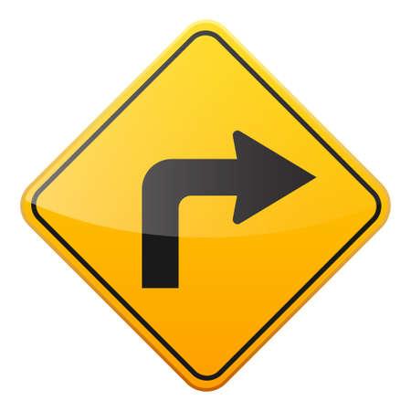 Weg geel teken op witte achtergrond. Road traffic control.Lane gebruik. Stop en geef op. Regulatory sign. Straat. Bochten en bochten. Stock Illustratie