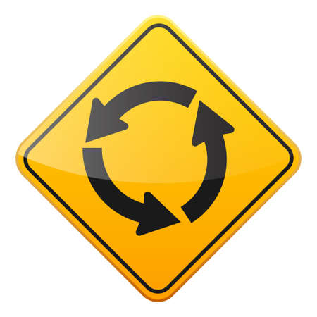 Computer instruction: Road yellow sign on white background. Road traffic control.Lane usage. Stop and yield. Regulatory sign. Street. Curves and turns. Illustration