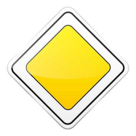 Road yellow sign on white background. Road traffic control.Lane usage. Stop and yield. Regulatory sign. Street.
