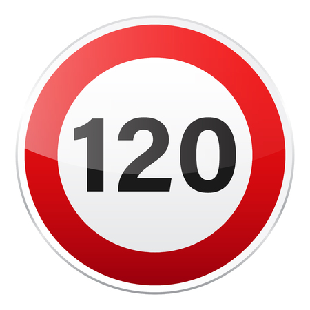 Road red sign on white background. Road traffic control.Lane usage. Stop and yield. Regulatory sign. Street. Speed limit. Imagens