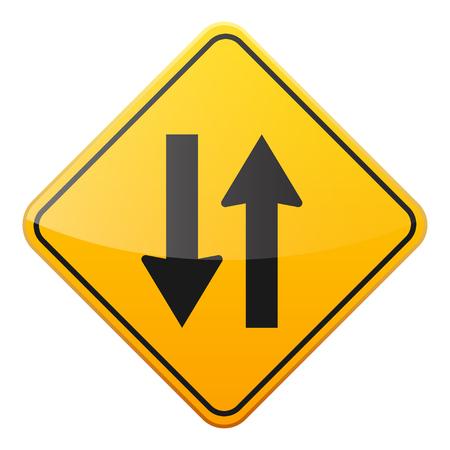Weg geel teken op witte achtergrond. Road traffic control.Lane gebruik. Stop en geef op. Regulatory sign. Straat. Bochten en bochten. Stockfoto