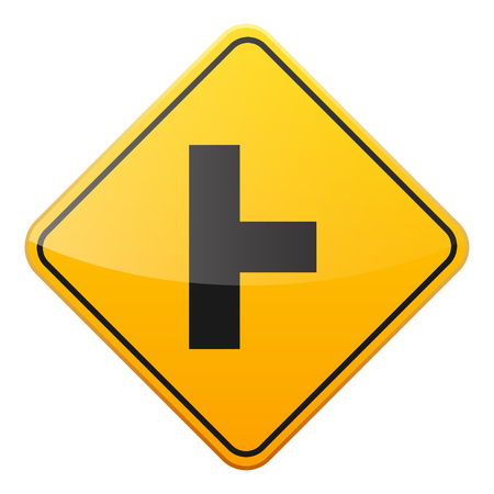 Road yellow sign on white background. Road traffic control.Lane usage. Stop and yield. Regulatory sign. Street. Curves and turns. Banco de Imagens