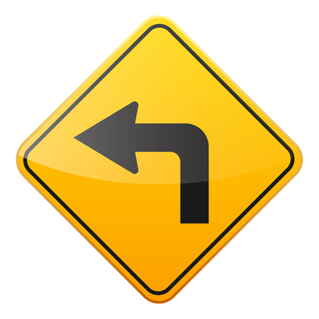 Road yellow sign on white background. Road traffic control.Lane usage. Stop and yield. Regulatory sign. Street. Curves and turns. Stock Photo