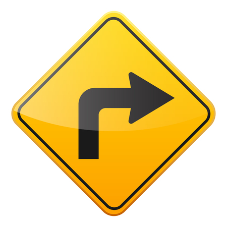 Road yellow sign on white background. Road traffic control.Lane usage. Stop and yield. Regulatory sign. Street. Curves and turns. Standard-Bild