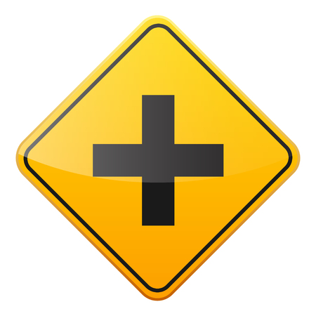 Road yellow sign on white background. Road traffic control.Lane usage. Stop and yield. Regulatory sign. Street. Curves and turns. Imagens