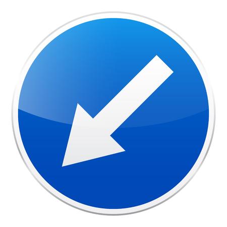 Blaues Zeichen der Straße auf weißem Hintergrund. Straßenverkehrskontrolle. Spurverwendung. Vorschriftzeichen. Straße. Standard-Bild - 89312336