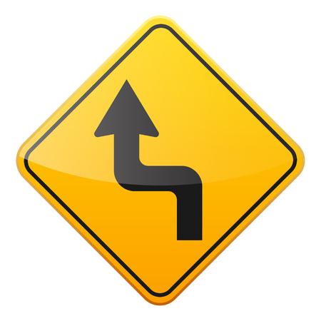 Sinal amarelo da estrada no fundo branco. Controle de tráfego rodoviário. Uso de linha. Pare e cai. Sinal de regulamentação. Rua. Curvas e voltas. Foto de archivo - 89312343