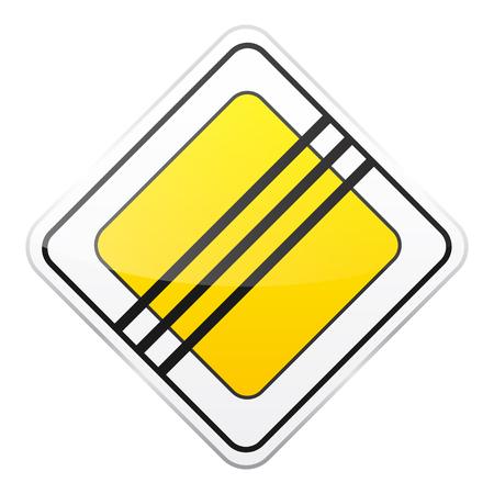 黄色の道路は白い背景にサインオンします。交通規制。車線の利用状況。停止し、降伏。規制標識。通り。