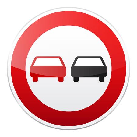 白い背景の上の車と赤い道路標識。