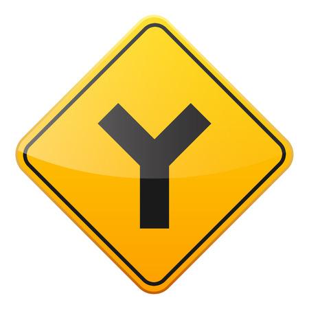 黄色の道路は白い背景にサインオンします。交通規制。車線の利用状況。停止し、降伏。規制標識。