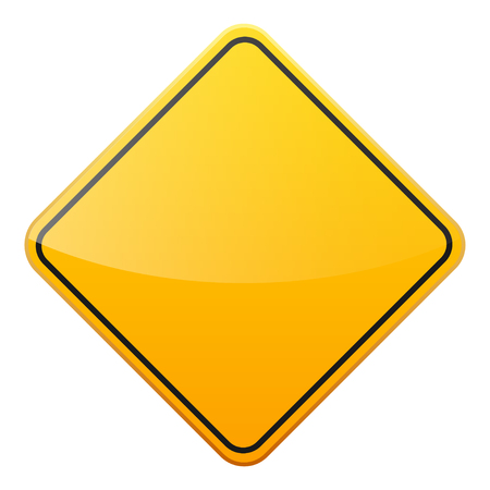 Road yellow sign on white background. Road traffic control.Lane usage. Stop and yield. Regulatory sign.