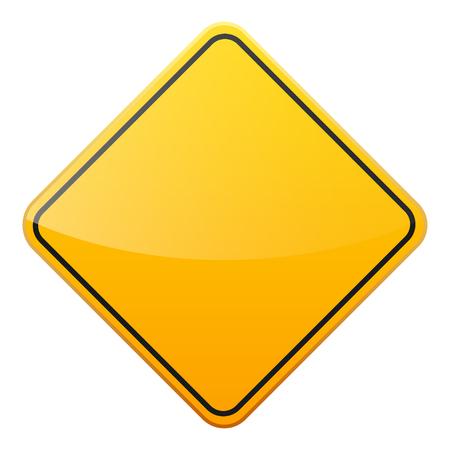 Signe de la route jaune sur fond blanc. Contrôle de la circulation routière. Utilisation de la voie. Arrêtez et cédez. Signe réglementaire