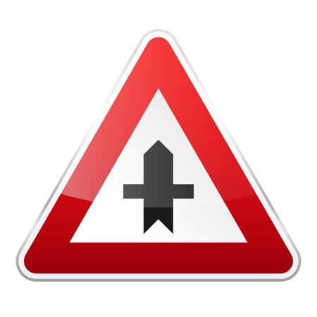 Road signo rojo sobre fondo blanco. Control de tráfico de carretera. Uso del carril. Signo reglamentario Foto de archivo - 89269321