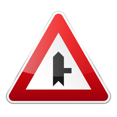 Road red sign on white background. Road traffic control.Lane usage. Regulatory sign.