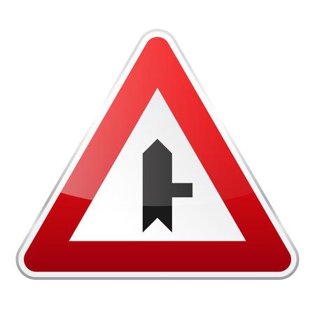 Weg rood teken op witte achtergrond. Road traffic control.Lane gebruik. Regulatory sign. Stock Illustratie