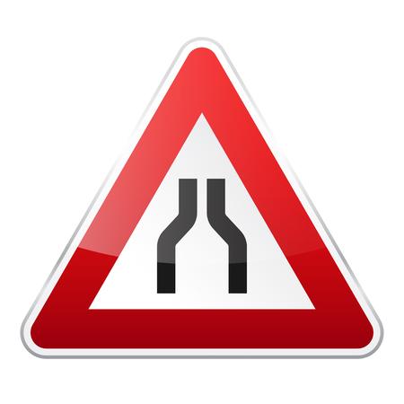 道は白い背景にサインオンします。交通規制。車線の利用状況。規制標識。