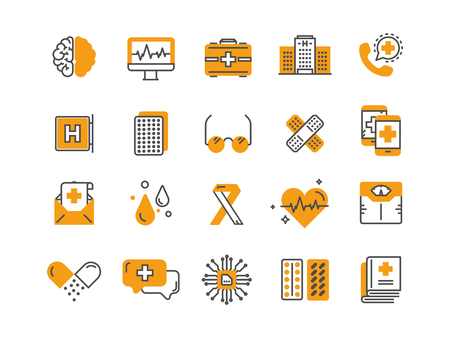 Health care, medicine. First aid. Medical blood tests and diagnostic. Heart cardiogram. Pills and drugs.Thin line web icon set. Outline icons collection.Vector illustration. Ilustracja