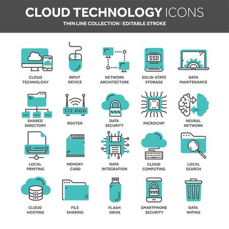 Cloud technology icons. Çizim