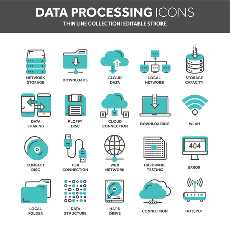Cloud omputing. Internet technology. Online services. Data processing, information security. Connection. Thin line web icon set. Outline icons collection.Vector illustration. Vektorové ilustrace