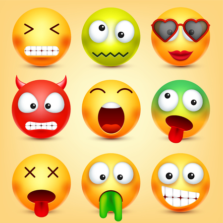 絵文字、顔文字を設定します。感情と黄色の顔。顔の表情。3 d のリアルな絵文字。面白い漫画のキャラクター。気分。Web アイコン。ベクトルの図。  イラスト・ベクター素材