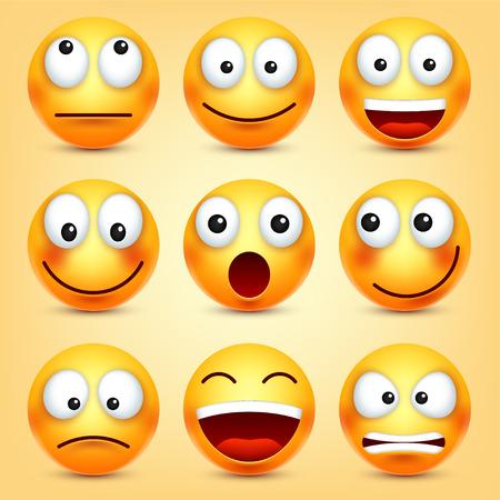 Smiley, set di emoticon. Volto giallo con emozioni. Espressione facciale. 3d emozioni realistiche. Personaggio divertente del fumetto. Icona Web. Illustrazione vettoriale. Archivio Fotografico - 89835168