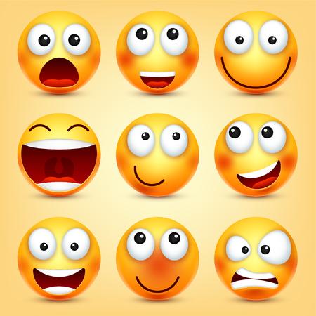 Smiley, ensemble d'émoticônes. Visage jaune avec des émotions. Expression faciale Emoji réaliste 3D. Personnage drôle de bande dessinée. Icône Web Illustration vectorielle Banque d'images - 89855008