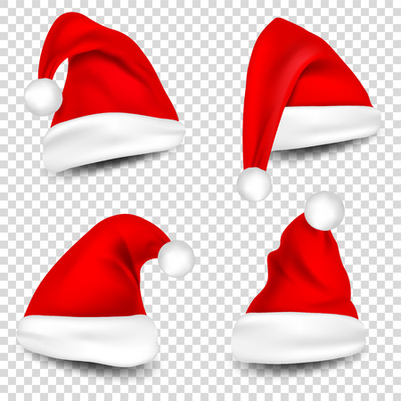 Christmas Santa Claus Hats With Shadow Set. New Year Red Hat Isolated on Transparent Background. Vector illustration. Stock Vector - 90233902
