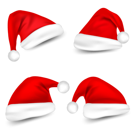 Christmas Santa Claus Hats With Shadow Set. New Year Red Hat Isolated on White Background. Vector illustration. Ilustração