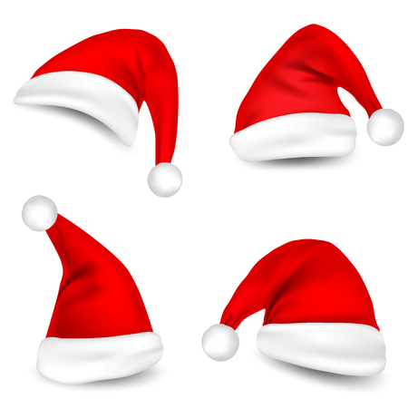 Christmas Santa Claus Hats With Shadow Set. New Year Red Hat Isolated on White Background. Vector illustration. Illustration