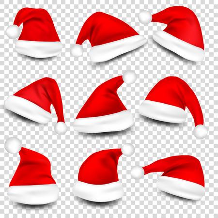 Kerst Santa Claus Hoeden Met Schaduw Set. Nieuwjaar rode hoed geïsoleerd op transparante achtergrond. Vector illustratie.