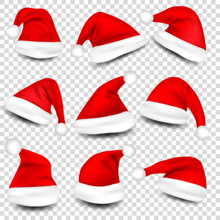 Christmas Santa Hats With Shadow Set. New Year Red Hat Isolated on Transparent Background. Vector illustration. Vectores