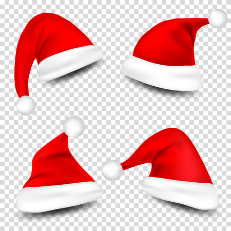 Santa Claus Hats With Shadow Set on checkered background. Vector illustration. 일러스트