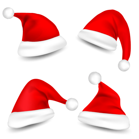 Santa Claus Hats With Shadow Set isolated on white background. Vector illustration.