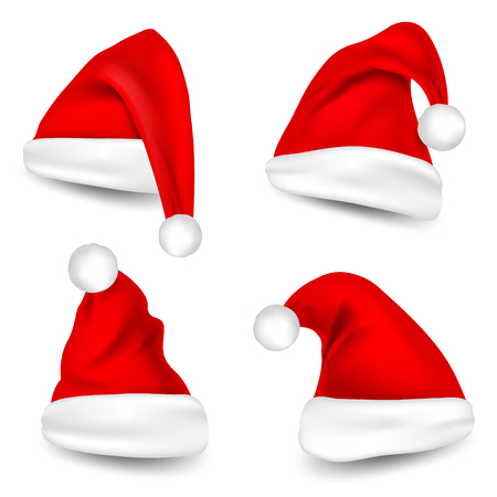 Santa Claus Hats With Shadow Set on isolated background. Vector illustration.