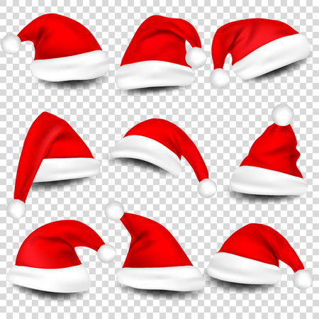 Christmas Santa Claus Hats With Shadow Set. New Year Red Hat Isolated on Transparent Background. Vector illustration. Banco de Imagens - 90056462