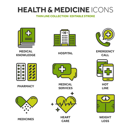 Health care, medicine. First aid. Medical blood tests and diagnostic. Heart cardiogram. Pills and drugs.Thin line web icon set. Outline icons collection.Vector illustration. Illustration