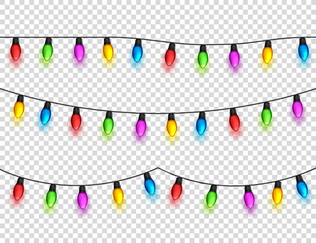Christmas glowing lights on transparent background. Garlands with colored bulbs. Xmas holidays. Christmas greeting card design element. New year,winter.