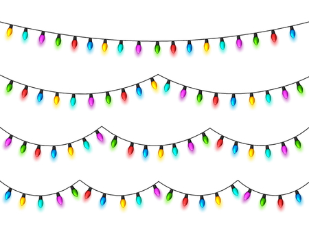 Christmas glowing lights on white background. Garlands with colored bulbs. Xmas holidays. Christmas greeting card design element. New year,winter. Vettoriali