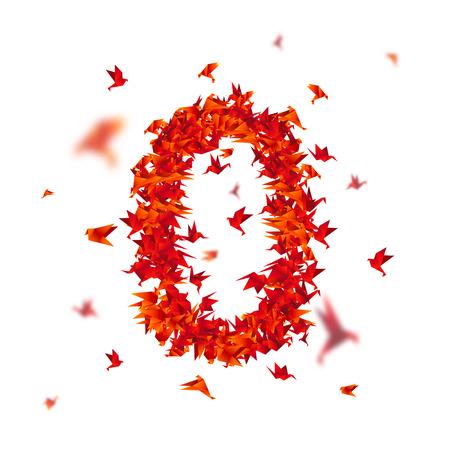 Nummer 0. Nummers met origami papier vogel op abstracte achtergrond
