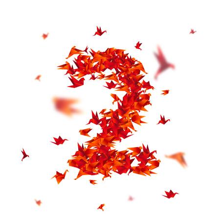 番号2。抽象的な背景に折り紙の鳥と数字