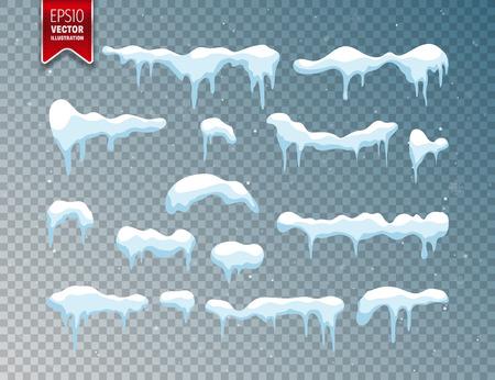 눈, 얼음 모자. 눈송이와 강설량입니다. 겨울 시즌. 투명 한 배경에 고립. 일러스트