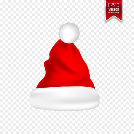 クリスマス サンタ クロース帽子の影を設定します。新年は、透明な背景に赤い帽子が分離されました。ベクトルの図。