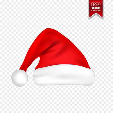 シャドウセット付きクリスマスサンタクロース帽子。透明な背景に隔離された新年の赤い帽子。ベクトルイラスト。  イラスト・ベクター素材