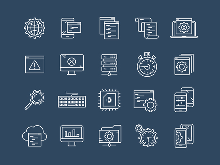 Seo and app development. Search engine optimization. Internet, e-commerce.Thin line blue web icon set. Outline icons collection. Vector illustration. Illustration