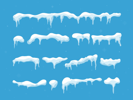 Snow, ice cap. Snowfall with snowflakes. Winter season. Isolated on white background. Illustration