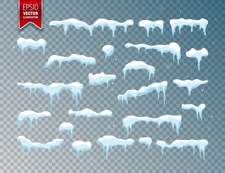 Snow, ice cap. Snowfall with snowflakes. Winter season. Isolated on transparent background. Reklamní fotografie - 90804701