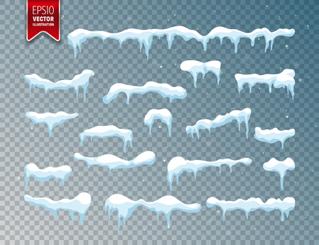 Snow, ice cap. Snowfall with snowflakes. Winter season. Isolated on transparent background.