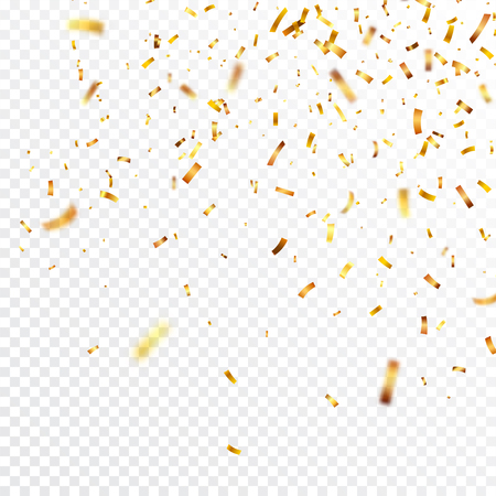 Christmas golden confetti. Falling shiny confetti glitters in gold color. New year, birthday, valentines day design element. Holiday background. Çizim
