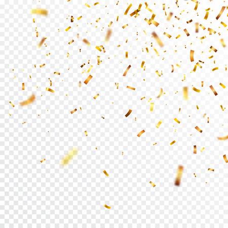 Navidad confeti dorado. Confeti brillante que cae brilla en color dorado. Año nuevo, cumpleaños, elemento de diseño día de san valentín. Fondo de vacaciones.